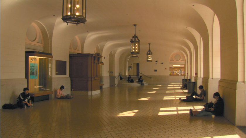 The University of California, Berkeley's Wheeler Hall, in a scene from Frederick Wiseman's At Berkeley