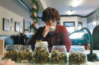 Medical marijuana patient Kevin Brown at the Apothecarium, a medical cannabis dispensary in San Francisco, December 2011