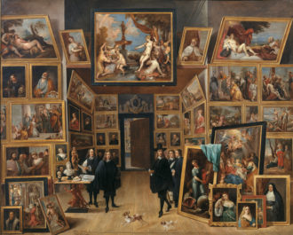 David Teniers the Younger: Archduke Leopold Wilhelm in his Picture Gallery in Brussels, 1651–1653. Many of the archduke's pictures were bought in bulk from the collection of the Duke of Hamilton after the duke was executed during the English Civil War.