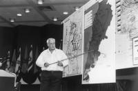 Ariel Sharon discussing the 1982 invasion of Lebanon at Tel Aviv University, 1987