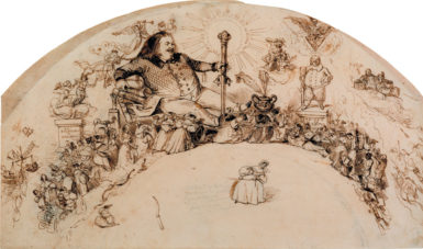 Honoré de Balzac, surrounded by characters from his novels; drawing by Grandville