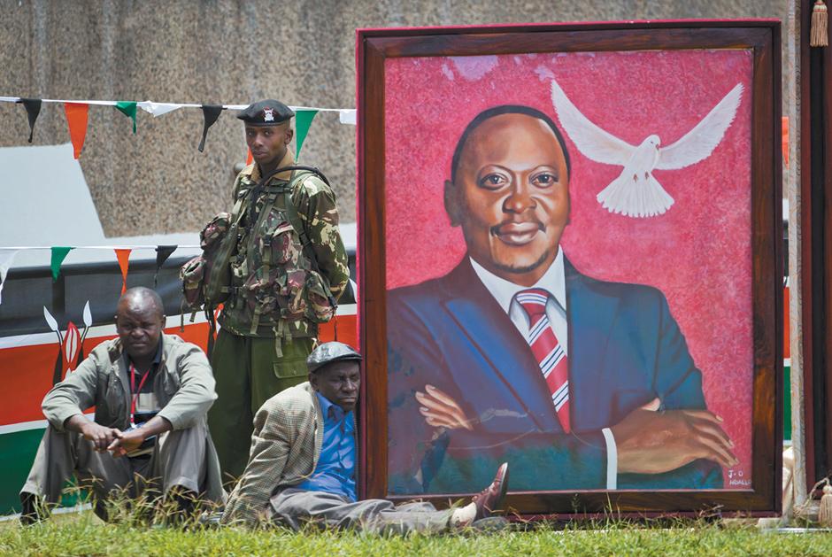 A painting of Kenyan President Uhuru Kenyatta on display during his inauguration, Kasarani, Kenya, April 9, 2013