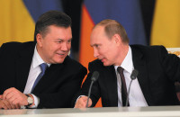 Viktor Yanukovych and Vladimir Putin at a Russian-Ukrainian summit, Moscow, December 17, 2013