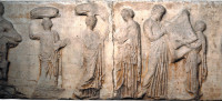 The central scene of the east frieze of the Parthenon. 'The traditional reading of the frieze,' writes Mary Beard, interprets it as 'the presentation of a newly woven robe (<i>peplos</i>) to Athena,' the high point of a festival celebrating the goddess. Joan Breton Connelly, in <i>The Parthenon Enigma</i>, instead argues that the frieze depicts a scene from early Athenian myth, in which King Erechtheus, as Beard writes, 'has been told by an oracle that in order to save Athens from invasion he must sacrifice one of his daughters,' and is not receiving the <i>peplos</i> but rather handing the material over to his youngest daughter, who will wear it as her shroud.