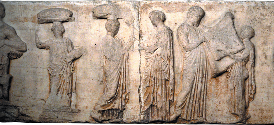 The central scene of the east frieze of the Parthenon. 'The traditional reading of the frieze,' writes Mary Beard, interprets it as 'the presentation of a newly woven robe (peplos) to Athena,' the high point of a festival celebrating the goddess. Joan Breton Connelly, in The Parthenon Enigma, instead argues that the frieze depicts a scene from early Athenian myth, in which King Erechtheus, as Beard writes, 'has been told by an oracle that in order to save Athens from invasion he must sacrifice one of his daughters,' and is not receiving the peplos but rather handing the material over to his youngest daughter, who will wear it as her shroud.