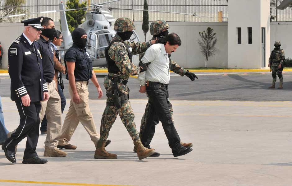 Joaquín Guzmán Loera after his arrest, Mexico City, Mexico, February 22, 2014
