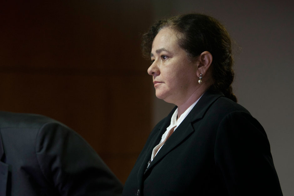 Guatemala's Attorney General Claudia Paz y Paz at a press conference in Guatemala City, October 11, 2012