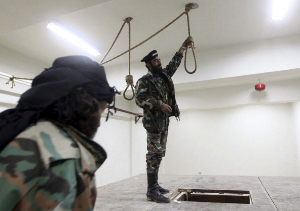 Free Syrian Army soldiers in a captured Syrian government prison, Darkoush, Syria, April 23, 2013