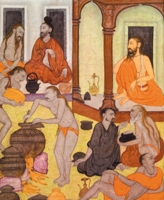 Detail of 'The Feast of the Yogis,' from the Hindi Sufi romance Mrigavati, Allahabad, 1603–1604