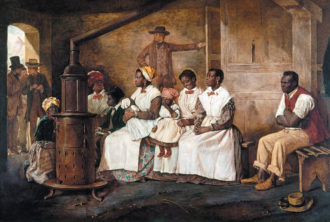 'Slaves Waiting for Sale, Richmond, Virginia'; painting by Eyre Crowe, 1861