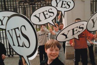 Children demonstrating in favor of a referendum backing the Good Friday peace agreement, Belfast, Northern Ireland, 1998