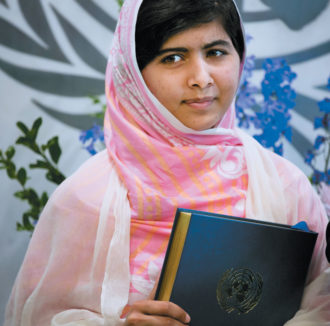 Malala Yousafzai, who survived a 2012 assassination attempt by the Taliban in Pakistan for advocating for the education of girls, at the United Nations, New York City, July 2013