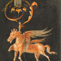 A detail of a Pegasus under an acanthus scroll from a wall in Herculaneum