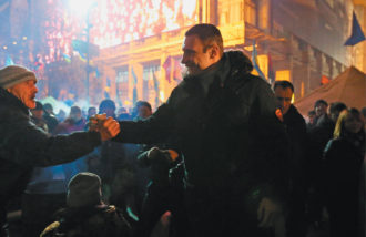 The opposition leader Vitali Klitschko attending a protest rally in Maidan square, Kiev, December 16, 2013