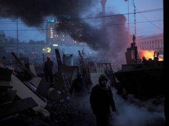 Protesters in Kiev, Ukraine, February 19, 2014