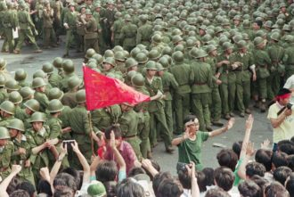 Soldiers and demonstrators at Tiananmen Square, May, 1989