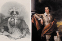 Engraving of Sabrina Bicknell at age seventy-five by Richard James Lane, after a portrait by Stephen Poyntz Denning, 1833; painting of Thomas Day by Joseph Wright, 1770