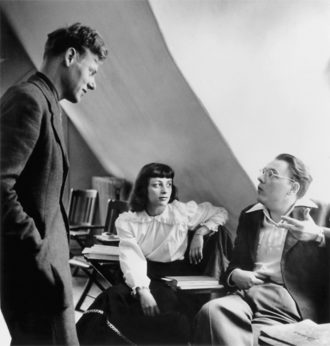 Paul de Man with Renée and Theodore Weiss, Bard College, circa December 1949
