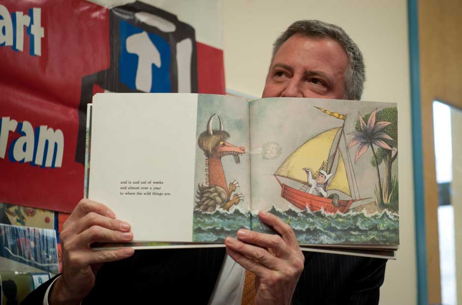 New York Mayor Bill de Blasio reading Maurice Sendak's Where the Wild Things Are, Northside Center for Child Development, New York, December 3, 2013