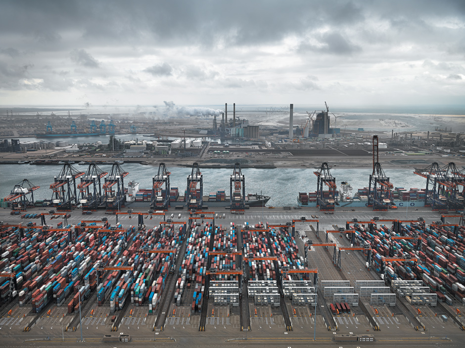 Edward Burtynsky: Container Port, Maasvlakte, Rotterdam, The Netherlands, 2011; from Burtynsky's new collection of photographs, Water. The book includes essays by Wade Davis and Russell Lord and is published by Steidl. Burtynsky's new documentary film, Watermark, codirected with Jennifer Baichwal, will be released in the US this April.