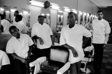 Barber shop, North Carolina, 1963; photograph by Leonard Freed from his 'Black in White America' series. A collection of Freed's photographs of the 1963 March on Washington, This Is the Day, was published last year by the J. Paul Getty Museum.