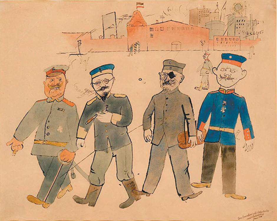 George Grosz: In Front of the Barracks, 1918; from 'George Grosz: Berlin: Prostitutes, Politicians, Profiteers,' a recent exhibition at the Richard Nagy Gallery, London