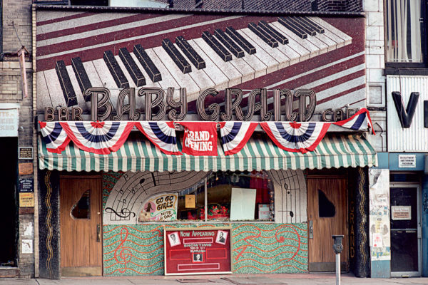 The Baby Grand bar at 319 West 125th Street, Harlem, 1977; photograph by Camilo José Vergara from Harlem: The Unmaking of a Ghetto
