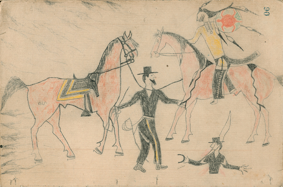 A drawing from A Lakota War Book by Artist D, showing the killing of an American army officer and sergeant. Castle McLaughlin tentatively identifies Artist D as Crazy Horse.