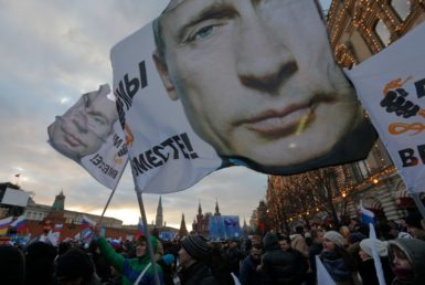 Supporters of the Russian annexation of Crimea at a rally in Red Square, Moscow, March 18, 2014