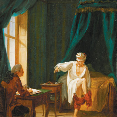 'Voltaire in his night shirt, putting on his trousers while dictating to his secretary, at his house in Ferney, France'; painting by Jean Hubert, eighteenth century