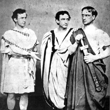 From left, John Wilkes Booth as Mark Antony, Edwin Booth as Brutus, and Junius Booth as Cassius in Julius Caesar, New York, 1864