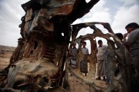 The wreckage of a car destroyed by a US drone strike in Azan, Yemen, February 2013