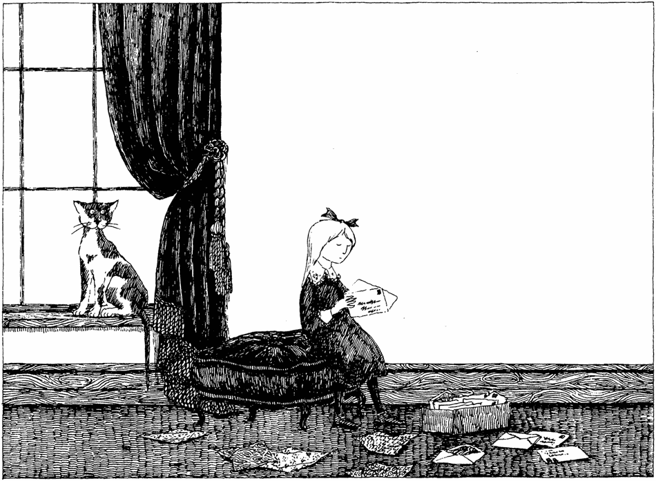 Edward Gorey drawing of girl with letter.png