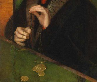 Adriaen Isenbrant: Man Weighing Gold (detail), circa 1515–1520