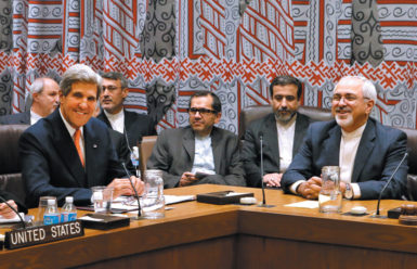 Secretary of State John Kerry (left) and Iranian Foreign Minister Mohammad Javad Zarif (right) at a meeting about Iran's nuclear activities, United Nations headquarters, New York City, September 2013