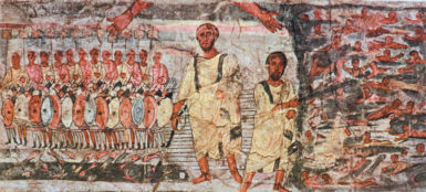'Exodus and the Crossing of the Red Sea'; wall painting from the Dura-Europos Synagogue, Damascus, Syria, third century