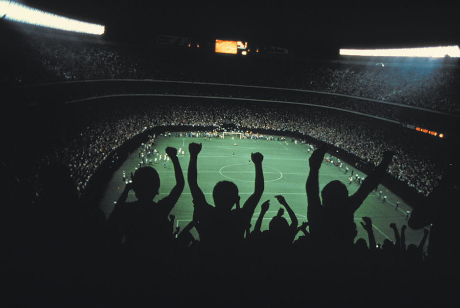 The instant of a winning goal by the New York Cosmos for the championship of the North American Soccer League, Giants Stadium, 1978