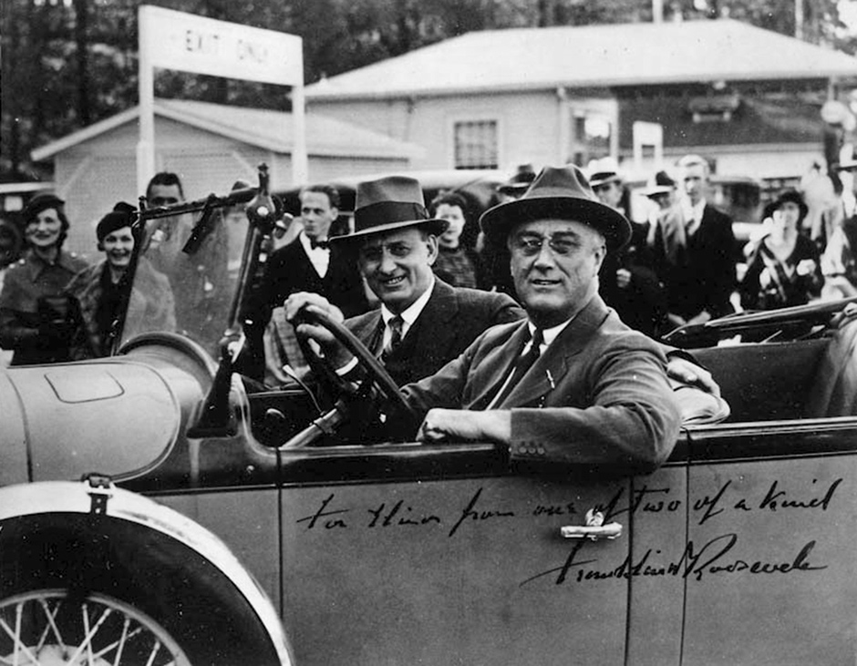 Franklin Delano Roosevelt with Henry Morgenthau Jr., his treasury secretary, February 9, 1934. Morgenthau was the only Jewish member of Roosevelt's cabinet, and convinced him to form the War Refugee Board in early 1944.