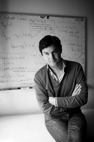 Thomas Piketty in his office at the Paris School of Economics, 2013