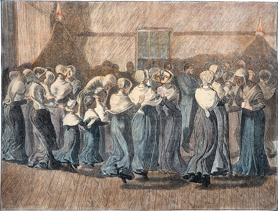 'Shakers at Meeting: The Religious Dance'; engraving by Arthur Boyd Houghton, 1870