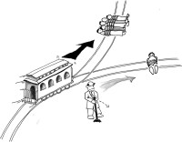 The Trolley Problem, described as follows by David Edmonds in Would You Kill the Fat Man?: 'You're standing by the side of a track when you see a runaway train hurtling toward you: clearly the brakes have failed. Ahead are five people tied to the track. If you do nothing, the five will be run over and killed. Luckily you are next to a signal switch: turning this switch will send the out-of-control train down a side track, a spur, just ahead of you. Alas, there's a snag: on the spur you spot one person tied to the track: changing the direction will inevitably result in this person being killed. What should you do?'