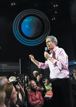 Michael Ignatieff, then leader of the Liberal Party, campaigning in the Canadian federal election, St. John's, Newfoundland, April 2011