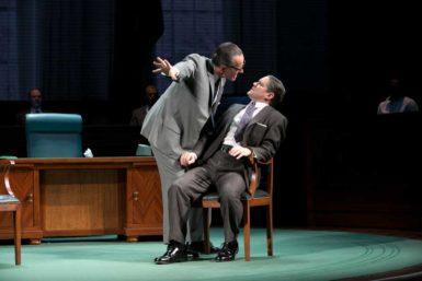 Bryan Cranston as Lyndon Johnson and Robert Petkoff as Hubert Humphrey in Robert Schenkkan's Broadway play All the Way