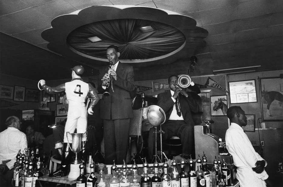 Lee Friedlander: George Lewis and Jim Robinson, Paddock Lounge.jpg
