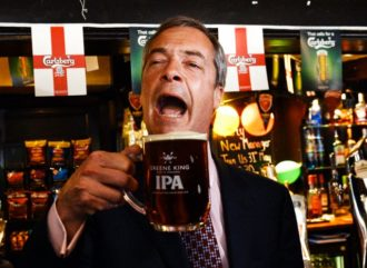 UK Independence Party leader Nigel Farage celebrating local election results, South Benfleet, Essex, United Kingdom, May 23, 2014