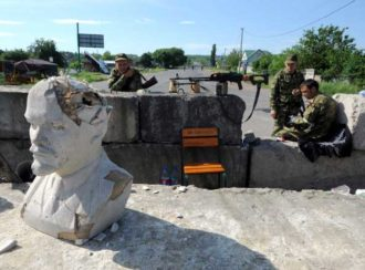 A rebel checkpoint with a bust of Lenin in the village of Semenovka, Sloviansk, May 22, 2014