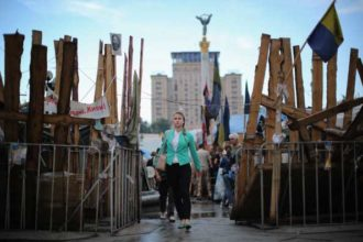 Barricades in Independence Square, Kiev, Ukraine, May 21, 2014
