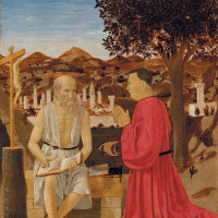 Piero della Francesca: Saint Jerome and a Supplicant, circa 1460–1464