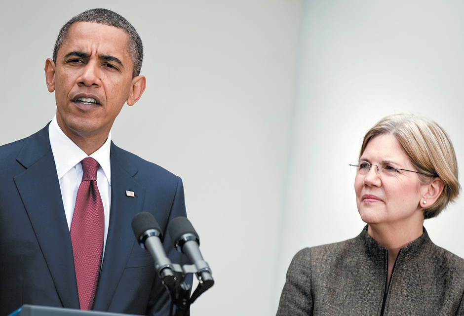 President Obama announcing the appointment of Elizabeth Warren to oversee the Consumer Financial Protection Bureau, Washington, D.C., September 2010