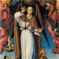 Saint Michael weighing souls in Rogier van der Weyden's Last Judgment, circa 1445–1450